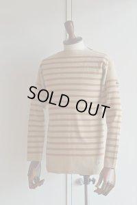 FILEUSE D'ARVOR BASQUE SHIRT Brest Made in France フィールズダルボー バスクシャツ ブレスト ヴィンテージリブ BEIGE ×  CAMEL