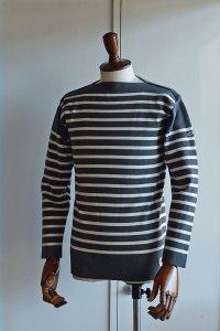 カネル バスクシャツ ミッドシップ ヴィンテージリブ フランス製 Kanell industriel BASQUE SHIRT Midship Made in France CHARCOAL × ICE