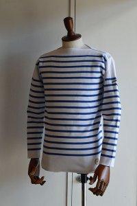 カネル バスクシャツ ミッドシップ ヴィンテージリブ フランス製 Kanell industriel BASQUE SHIRT Midship Made in France BLANC × SKY