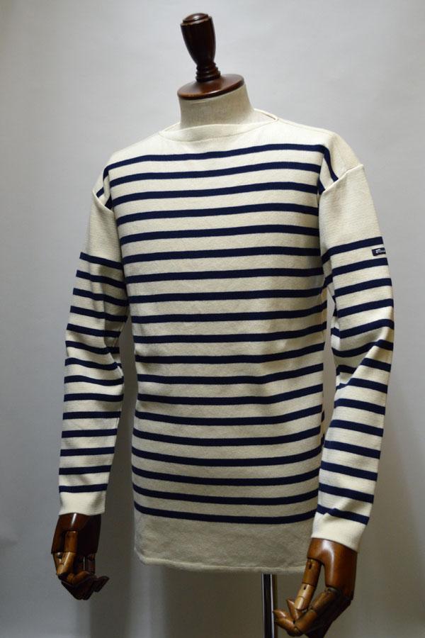 画像1: FILEUSE D'ARVOR BASQUE SHIRT Brest Made in France フィールズダルボー バスクシャツ ブレスト ヴィンテージリブ ECRU×MARINE