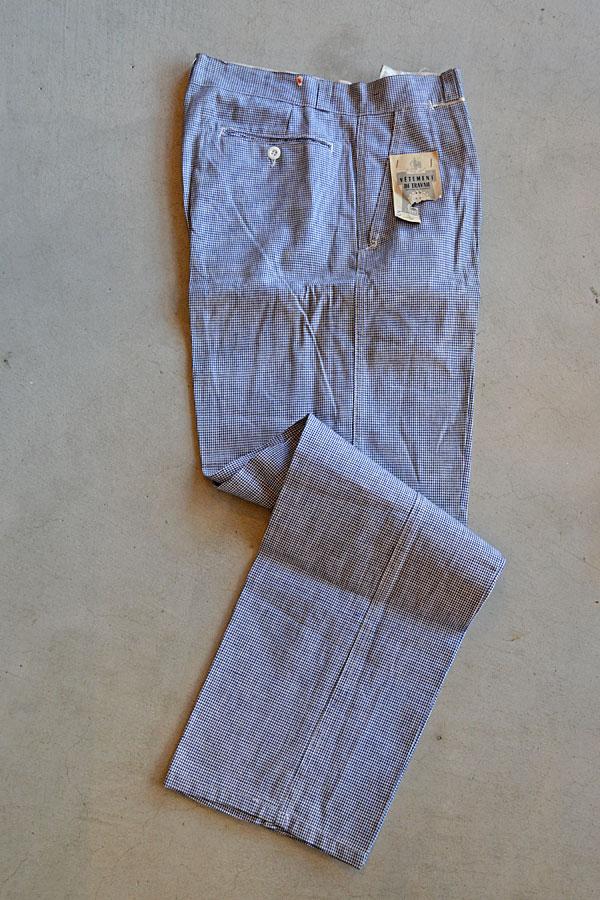 画像1: Dead Stock 1950s LE CALADOIS Vintage French Work Pants Hound's Tooth Check デッドストック 千鳥格子 ハウンド・トゥース・チェック