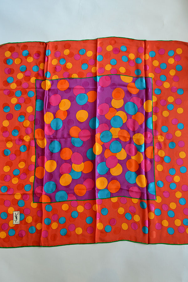 画像1: Dead Stock 80s Yves Saint Laurent Foulards ヴィンテージスカーフ Spots