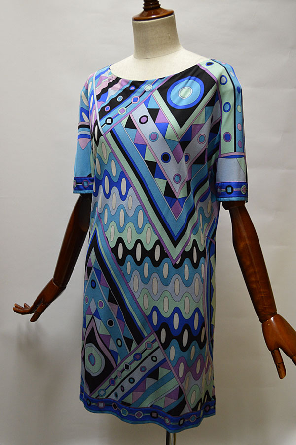 画像1: 1970'S エミリオプッチ ヴィンテージドレス EMILIO PUCCI ジオメトリック柄 シルクジャージ