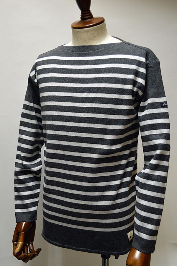 画像1: FILEUSE D'ARVOR BASQUE SHIRT Brest Made in France フィールズダルボー バスクシャツ ブレスト ヴィンテージリブ CHARCOAL × LT.GRAY