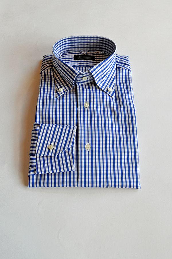 画像1: LES LESTON Button Down Shirts TESTA Blue Cheak120/2