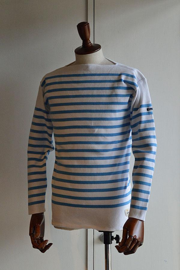 画像1: FILEUSE D'ARVOR BASQUE SHIRT Brest Made in France フィールズダルボー バスクシャツ ブレスト ヴィンテージリブ PURE × SAXE