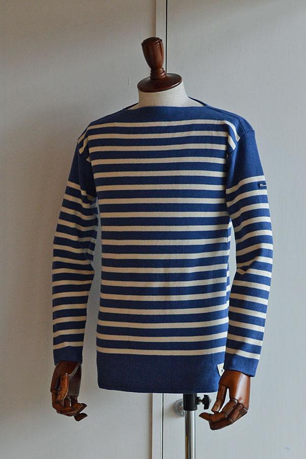 画像1: FILEUSE D'ARVOR BASQUE SHIRT Brest Made in France フィールズダルボー バスクシャツ ブレスト ヴィンテージリブ INDIGO × ECRU