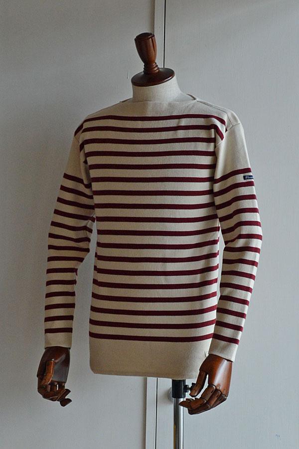 画像1: FILEUSE D'ARVOR BASQUE SHIRT Brest Made in France フィールズダルボー バスクシャツ ブレスト ヴィンテージリブ ECRU × MEDOC