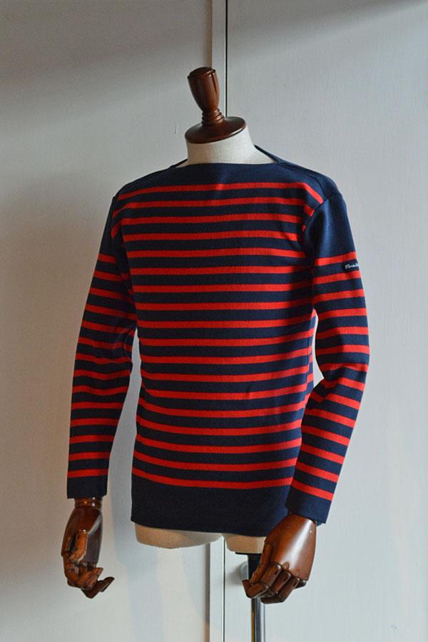 画像1: FILEUSE D'ARVOR BASQUE SHIRT Brest Made in France フィールズダルボー バスクシャツ ブレスト ヴィンテージリブ MARINE × ROUGE