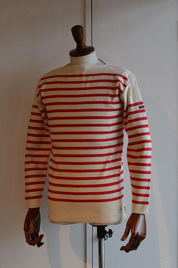 画像1: FILEUSE D'ARVOR BASQUE SHIRT Brest Made in France フィールズダルボー バスクシャツ ブレスト ヴィンテージリブ ECRU × ROUGE