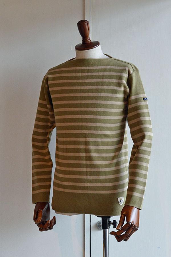 画像1: FILEUSE D'ARVOR BASQUE SHIRT Brest Made in France フィールズダルボー バスクシャツ ブレスト ヴィンテージリブ KHAKI × BEIGE