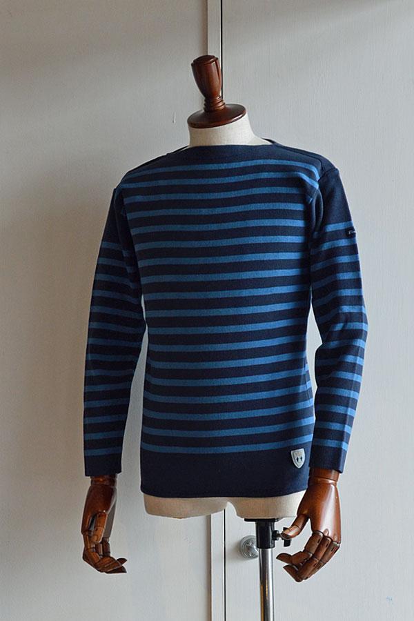 画像1: FILEUSE D'ARVOR BASQUE SHIRT Made in France バスクシャツ ヴィンテージリブ MARINE×PASTEL BLUE
