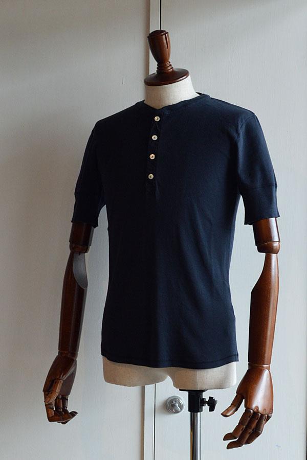画像1: Schiesser Henley Neck Short Sleeve KARL HEINZ Blueblack シーサー ヘンリーネック 半袖 ネイビー