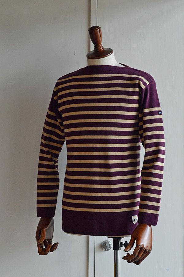 画像1: FILEUSE D'ARVOR BASQUE SHIRT Brest Made in France フィールズダルボー バスクシャツ ブレスト ヴィンテージリブ PURPLE × BEIGE