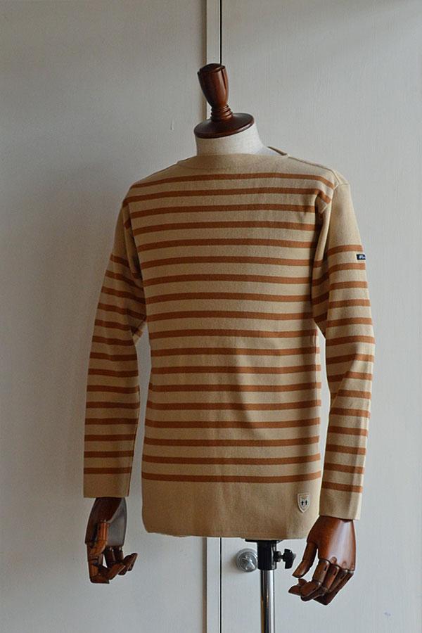 画像1: FILEUSE D'ARVOR BASQUE SHIRT Made in France バスクシャツ ヴィンテージリブ BEIGE ×  CAMEL