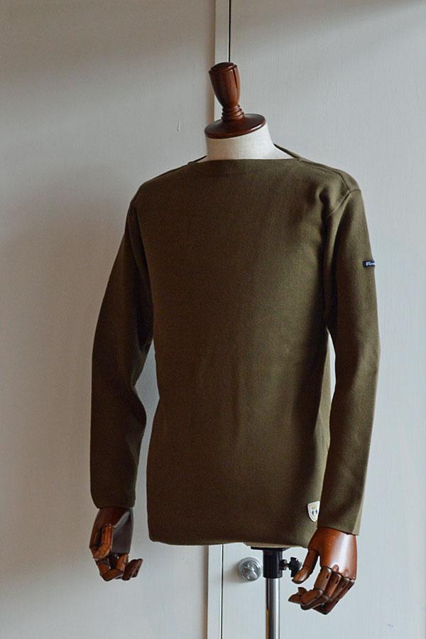 画像1: FILEUSE D'ARVOR BASQUE SHIRT Brest Made in France フィールズダルボー バスクシャツ ブレスト ヴィンテージリブ OLIVE