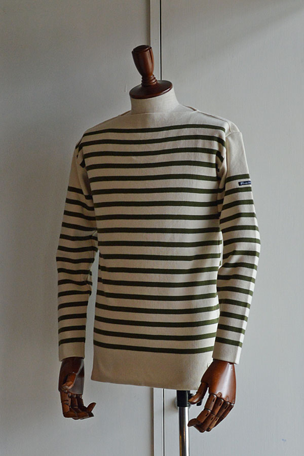 画像1: FILEUSE D'ARVOR BASQUE SHIRT Made in France バスクシャツ ヴィンテージリブ ECRU × OLIVE