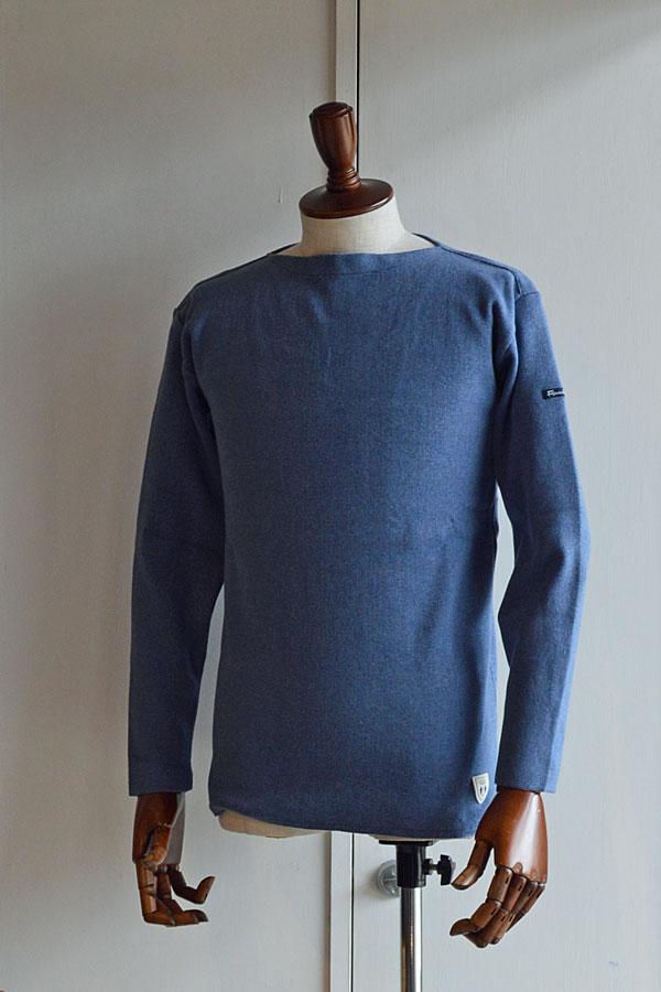 画像1: FILEUSE D'ARVOR BASQUE SHIRT Brest Made in France フィールズダルボー バスクシャツ ブレスト ヴィンテージリブ MELANGE LIGHT BLUE