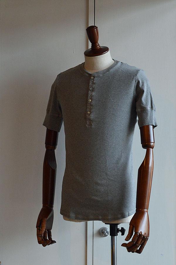 画像1: Schiesser Henley Neck Short Sleeve KARL HEINZ Melange grey シーサー ヘンリーネック 半袖 グレー