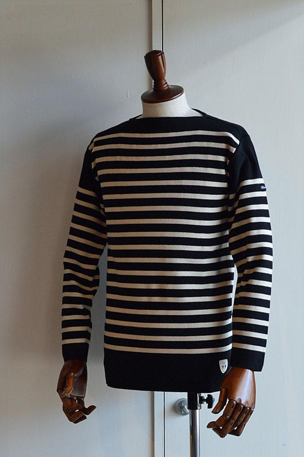 画像1: フィールズダルボー バスクシャツ ブレスト ヴィンテージリブ フランス製 FILEUSE D'ARVOR BASQUE SHIRT Brest Made in France BLACK×ECRU