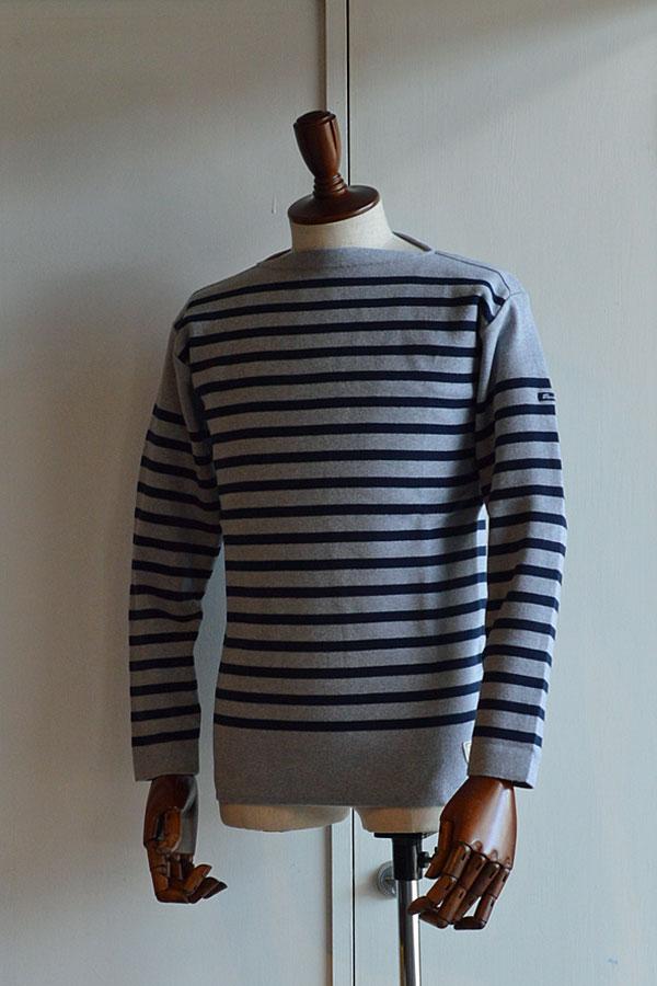 画像1: フィールズダルボー バスクシャツ ブレスト ヴィンテージリブ フランス製 FILEUSE D'ARVOR BASQUE SHIRT Brest Made in France GRAY×MARINE