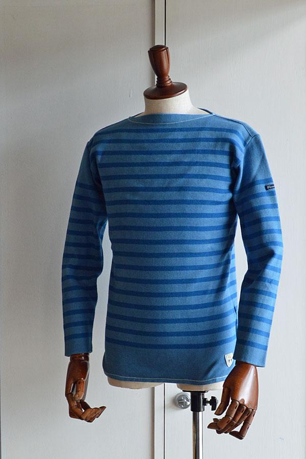 画像1: FILEUSE D'ARVOR BASQUE SHIRT Brest Made in France フィールズダルボー バスクシャツ ブレスト ヴィンテージリブ PASTEL BLUE×ROYAL