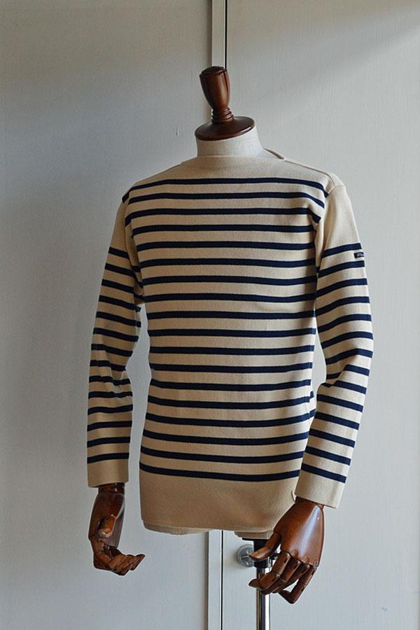 画像1: フィールズダルボー バスクシャツ ブレスト ヴィンテージリブ フランス製 FILEUSE D'ARVOR BASQUE SHIRT Brest Made in France ECRU × MARINE
