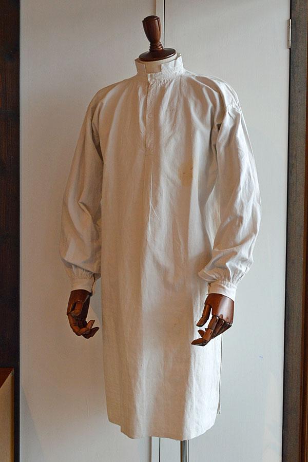 画像1: 1890s フレンチアンティークリネンロングシャツファーマーズシャツAntique French Linen Long Shirts Farmer's