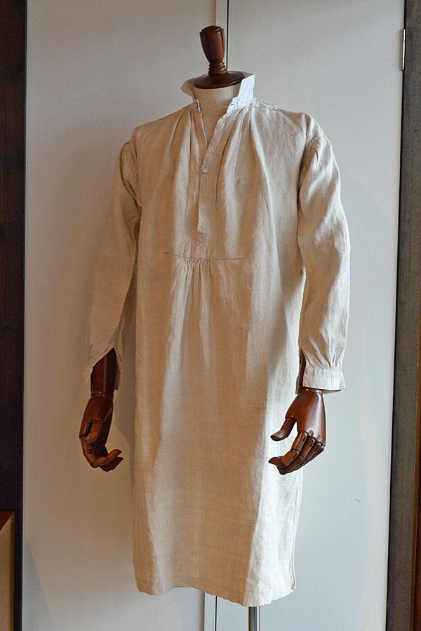 画像1: 1890s〜1900s フレンチアンティークリネンロングシャツファーマーズシャツAntique French Linen Long Shirts Farmer's